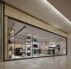 The display of the Fendi collections at the newly opened boutique at the Emporium Thailand shopping mall Retail Facade, Shop Facade, Shopping Mall Interior, Retail Interior, Retail Boutique, Retail Shop, Shop Front Design, Store Design, Facade Design