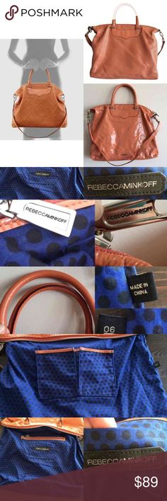 RARE! Rebecca Minkoff Bonnie Box Convertible Bag This hard to find tote is so versatile! You can wear it as a crossbody, shoulder bag, satchel or clutch. It has a woven leather front and a plain, high gloss leather back. The lining is in good condition but some of the logo on the inside pocket has come off (see pic). The exterior has marks on both sides (last pics). Given the texture of the bag, unless looking closely, the wear is hard to notice. 1st pic, left-hand side taken from web to…