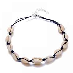 ALIUTOM New Fashion Black Rope Chain Natural Seashell Choker Necklace Collar Necklace Shell Choker Necklace for Summer Beach Gif Turtle Necklace, Seashell Necklace, Shell Necklaces, Boho Necklace, Collar Necklace, Fashion Necklace, Ocean Jewelry, Boho Jewelry, Jewellery