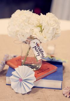 Book centerpiece - use ribbon to tie table # on a tag and don't use umbrella.
