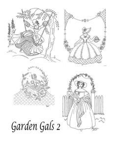 CD Vintage Garden Gals 2 Southern Belles Crinoline Lady Designs Hand Embroidery
