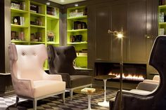 Great-and-modern-living-room-interior-design-equipped-huge-armchairs-plus-coffee-table-and-antique-floor-lamp-also-fireplace-fused-with-yellow-cabinet-in-Hotel-La-Maison-Favar – Primadr Tall Fireplace, Fireplace Cover, Fireplace Surrounds, Modern Fireplace, Cabin Fireplace, Simple Fireplace, Fireplace Seating, Fireplace Kitchen, Victorian Fireplace