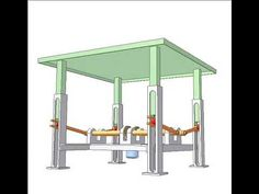 Orange cranks fixed to the shafts move up-down green table thanks to tangent. Mechanical Projects, Mechanical Engineering Design, Mechanical Design, Door Design, House Design, Table Saw Workbench, Lift Table, Diy Canopy, Welding Table