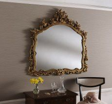 decorative gold mirrors. Large Gold Wall Mirror With Decorative Leaf Frame 122 x 114 cm Carden  Ornate Overmantle Made in the UK