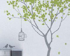 Hight 185cm Birds Cage Words Tree Nature Vinyl Wall Paper Decal Art Sticker Q3-1
