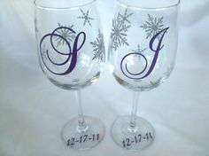 Christmas wine glasses 2 snowflake by WaterfallDesigns on Etsy, $24.00