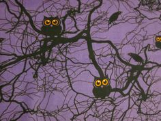 Owls Crows In Trees Purple Spooky Cotton  Fabric FQ or by scizzors, $2.99