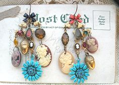 acorn fall floral earrings assemblage cameo by lilyofthevally