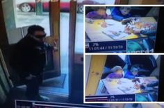 The thief is caught on CCTV stealing the man's phone from right in front of his kids