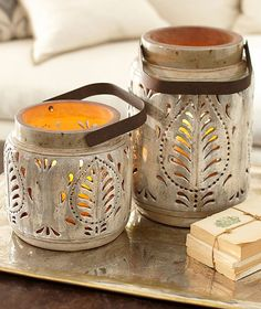 Avery Ceramic Lanterns - Pottery Barn.. very pretty :)