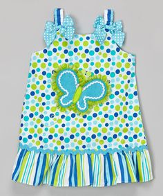 Look what I found on #zulily! Blue Butterfly Appliqué Ruffle Dress - Infant, Toddler & Girls by Youngland #zulilyfinds