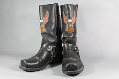 Harley Davidson Motorcycle Boots by CatApolinarVintage on Etsy