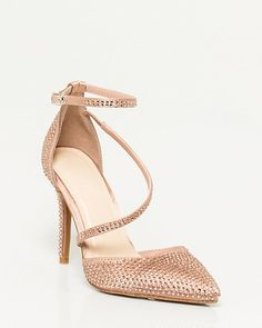 Jewel Embellished Satin Pointy Toe Pump - We love the elegantly curved asymmetrical strap on these jewel encrusted pointy toe pumps. Silver Pumps, Bridesmaid Shoes, Contemporary Fashion, Womens Fashion, Fashion 2015, Ladies Fashion, Fashion Shoes, Personal Style, Jewels