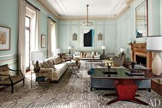Mint and rust and great architecture enhanced by STEVEN GAMBREL who REVITALIZES A 1930S NEW YORK MANSION  On Long Island's Gold Coast, the decorator pays homage to the patrician legacy of a grand estate while giving it a new lease on life for a modern family. via Architectural Digest
