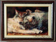 """Вышитая картина Счастливая пара """"Happy Nappers""""  История взаимоотношений волка и человека уходит в глубь веков. В мифологии разных народов волк играл еще одну важную роль, – это был символ вождя и воина, мужества и взаимной поддержки.   #волк #счастливаяпара #KustomKrafts #wolf #CrossStitch #вышивание #крестик #картина #вышивка #рукоделие #gloriole #handmade"""