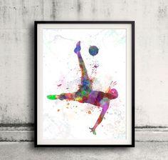 man soccer football player flying kicking 04 por Paulrommer en Etsy