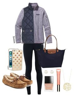 """""""Preppy"""" by lismm on Polyvore featuring NIKE, Patagonia, J.Crew, Longchamp, Accessorize, Butter London, Clarins, Ginette NY, UGG Australia and Kate Spade"""