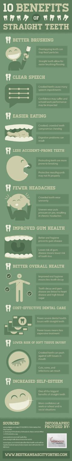 10 Benefits of Straight Teeth Infographic #braces #kirbynelsonorthodontics