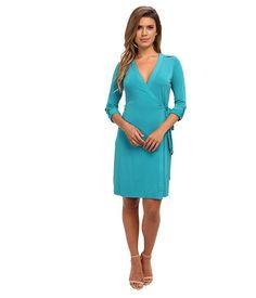 Calvin Klein Matte Jersey Solid Wrap Dress Lagoon - 6pm.com