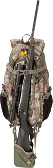 Hunting pack.  Carries rifle or bow.