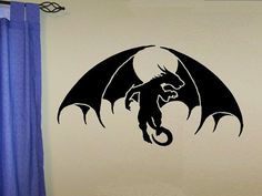 vinyl wall decal Winged Dragon design por WallDecalsAndQuotes Wall Stencil Patterns, Dragon Design, Vinyl Wall Decals, Stencils, Wings, Mom, Etsy, Home Decor, Wall Decal