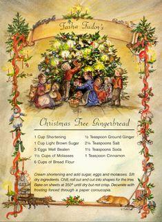 "Tasha Tudor's Christmas Tree Gingerbread ""Receipt"" ~ Every year, Tasha Tudor made large gingerbread figures of animals to hang on her Christmas tree. During the Johnson administration, Tasha was asked to make her tree gingerbread to hang on the White House Christmas tree!"