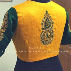 The beauty of a traditional colour is always a super hit . detailed thread work and beads for lenin saree ! Beautiful yellow and bottle green color designer blouse with hand embroidery work on back of blouse. 03 May 2018 Best Blouse Designs, Sari Blouse Designs, Bridal Blouse Designs, Embroidery Blouses, Hand Embroidery, Embroidery Dress, Silk Thread Bangles Design, Stylish Blouse Design, Designer Silk Sarees
