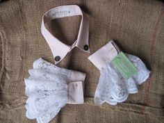 Upcycled Shirt Collar and Cuffs Light Pink with White Lace Trim - Steampunk, Victorian