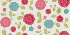 Tropicana Motif Teal (410703) - Arthouse Wallpapers - A pretty decorative ethnic style floral trail with a soft green trail and misty teal and coral flowers on a lustre background. Please request sample for true colour match.