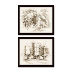 Vintage Sepia Bee Hives Print Set No.5 - Fine Art Giclee Canvas Print This fine art Giclee Canvas print set features 2 vintage bee hive illustrations. Each illustration has been digitally restored and tinted an aged sepia tone. The images have been added to an authentic vintage