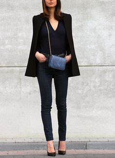 black blazer jeans heels. Street women fashion outfit clothing style apparel @roressclothes closet ideas