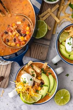 Creamy Chicken Tortilla Soup is one of my favorite fall soup recipes. It's creamy, it's delicious, and it's filled with all of my favorite ingredients! Fall Soup Recipes, Chicken Soup Recipes, Recipe Chicken, Recipes Dinner, Dinner Ideas, Creamy Tortilla Soup Recipe, Cooking Recipes, Healthy Recipes, Avocado Recipes