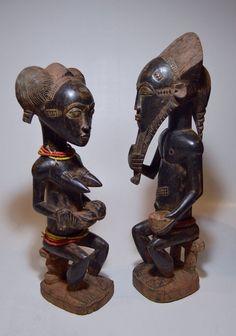 A Fine Baule Male & Female Spirit couple ~ African Art : Lot 42