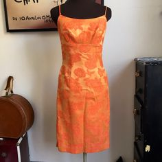Vintage Wiggle Dress Tonal Orange Floral by VintagePussycatShop