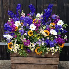 Summery meadow crate www.rose-cottage-flowers.co.uk