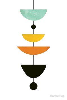 'Mid-Century Scandinavian Modern Print' Metal Print by Monica Pop Mid Century Art, Mid Century Modern Design, Motif Art Deco, Small Canvas Art, Abstract Geometric Art, Small Paintings, Scandinavian Modern, Diy Arts And Crafts, Modern Prints