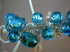 Black and Blue Glass Bead Crochet Bracelet