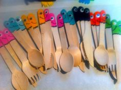 I Did It (99) Monster cutlery. I bought plain wooden disposable cutlery and painted the top of the handles as monsters. The craft eyes turn anything into a monster! :Tracey van Lent
