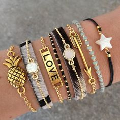 Bracelet Set - Black, Gold & Grey - Mint15 | www.mint15.com