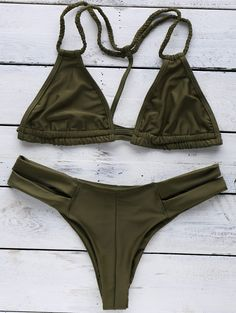 Halterneck Green Bikini Set - GREEN S
