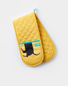 Dorrit Yellow Dachshund Double Oven Gloves , Size One Size | Joules UK