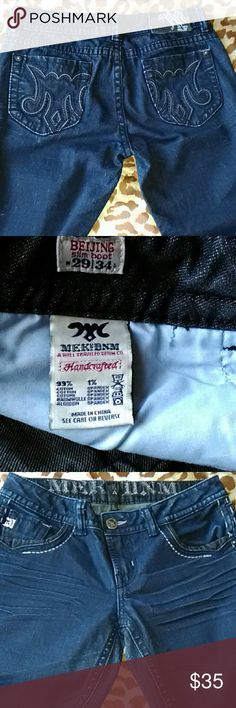"MEK Beijing Slim Boot Cut Dark Handcrafted Jeans Mek Beijing slim boot cut jeans size w29/l34 99% cotton 1% spandex. Excellent pre-owned condition. Dark blue looks like possibly has a black rinse or tint. Stitching is black and white. Front pockets have black contrast denim trim. Measurements are approximate and as follows. Waist flat across 16"", rise 8"", hips 19"", inseam 32"", leg opening 8-7/8"" MEK Jeans Boot Cut"