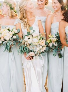 Bouquets with eucalyptus and olive branches