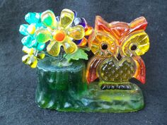 Rare Vintage 1960s Retro Lucite Acrylic Daisy Flowers & Owl!! NEW TRENDS! 1969! | eBay
