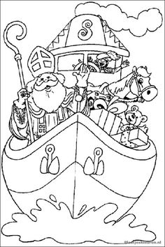 Kleurplaat - Sinterklaas travels from his home in Spain to the Netherlands sometime in November. He travels in a boat full of gifts, along with his gray horse and his helpers. Shark Coloring Pages, Colouring Pages, Free Coloring, Adult Coloring Pages, Coloring Books, St Nicholas Day, Hello Kitty Halloween, Marvel Coloring, Saint Nicolas