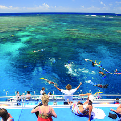 Snorkeling at Port Douglas, The Great Barrier Reef, tropical far north Queensland, Australia.