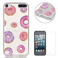 iPod Touch 5/6 Silicone Gel Case [with Free Screen Protector],CaseHome Crystal Clear Shock Proof Soft Durable Scratch Resistant Jelly Rubber TPU Protective Case Cover Skin Shell for Apple iPod Touch 5/6 with Beautiful Colourful Pattern Design-Doughnut