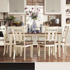 This Eli set offers an elegant two-tone rustic country style. Crafted of solid Asian rubberwood with a rich cherry and black finish, this versatile set offers an extending table that is perfect for guests and family to gather around.