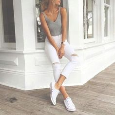 45 Casual White Jeans Outfits for 2016 | Woman clothing, Grey ...
