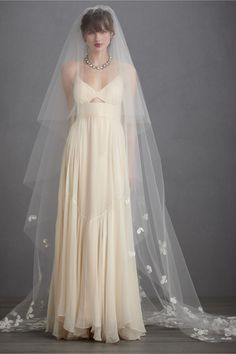 Buoyant Blooms Veil in The Bride Veils & Headpieces at BHLDN...beautiful, love the  lightness and length of the blusher!
